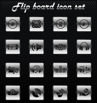 ユーザーインターフェイスデザインのためのデジタル音楽ベクトルフリップ機械アイコン