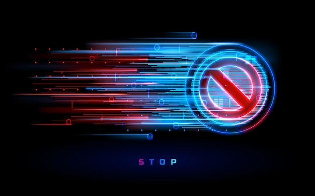 Цифровой неоновый поток со знаком остановки. значок с запрещенным или запрещенным, запрещенным или ограничивающим символом. предупреждение и опасность, запрет и опасность, знак опасности и запретительный знак. запретить круг. ни за что