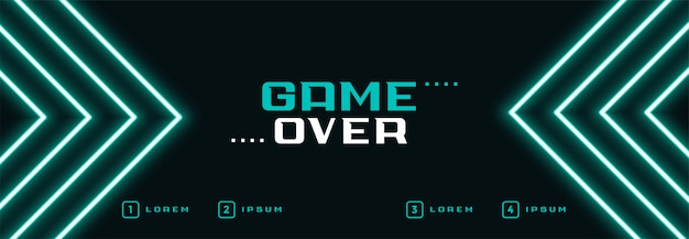 Digital neon game over banner