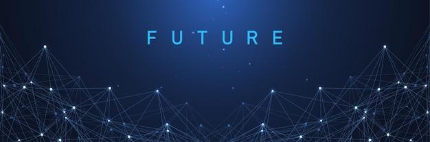 디지털 네트워크 연결 추상적인 배경입니다. 인공 지능 및 엔지니어링 기술. 빅 데이터 시각화. 글로벌 네트워크, 라인 신경총, 최소 어레이. 벡터 일러스트 레이 션.