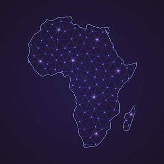 Digital network map of africa. abstract connect line and dot on dark background