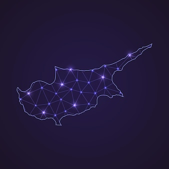 Digital network map of cyprus. abstract connect line and dot