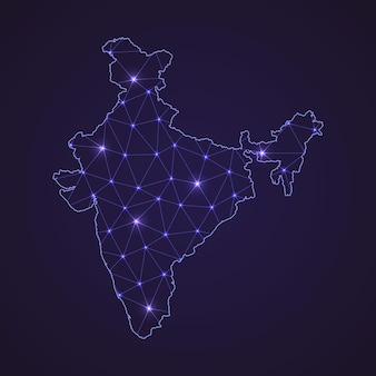 Digital network map of india. abstract connect line and dot on dark background