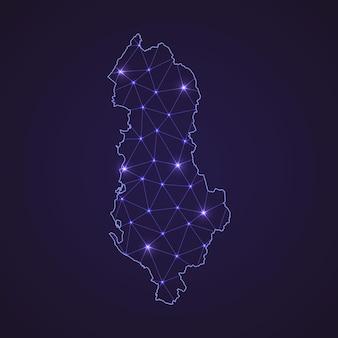 알바니아의 디지털 네트워크 지도입니다. 추상 연결 라인과 어두운 배경에 점