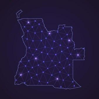 Цифровая сетевая карта анголы. абстрактные соединяют линию и точку на темном фоне