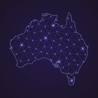 Цифровая сетевая карта австралии. абстрактные соединяют линию и точку на темном фоне