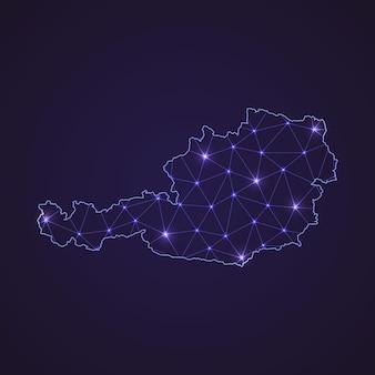 オーストリアのデジタルネットワークマップ。暗い背景に抽象的な接続線とドット