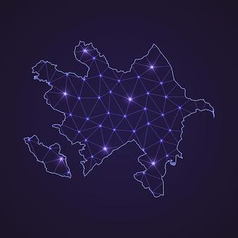 Цифровая сетевая карта азербайджана. абстрактные соединяют линию и точку на темном фоне