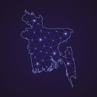 Цифровая сетевая карта бангладеш. абстрактные соединяют линию и точку на темном фоне