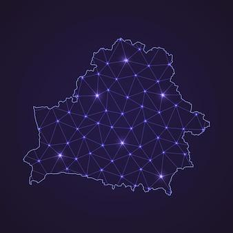 ベラルーシのデジタルネットワークマップ。暗い背景に抽象的な接続線とドット