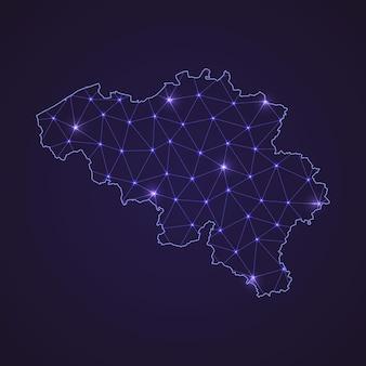 Цифровая сетевая карта бельгии. абстрактные соединяют линию и точку на темном фоне