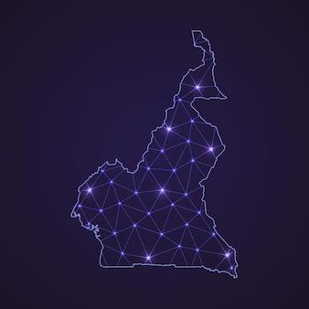 Цифровая сетевая карта камеруна. абстрактные соединяют линию и точку на темном фоне