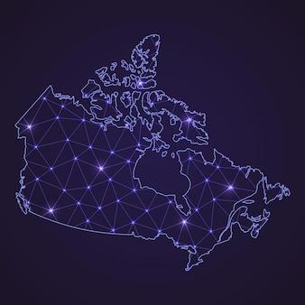 カナダのデジタルネットワークマップ。暗い背景に抽象的な接続線とドット