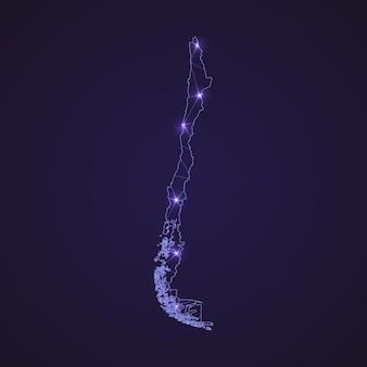 Цифровая сетевая карта чили. абстрактные соединить линию и точку