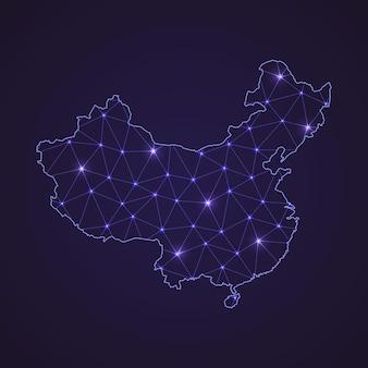 Цифровая сетевая карта китая. абстрактные соединяют линию и точку на темном фоне