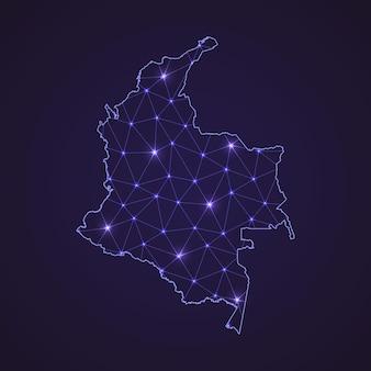 Цифровая сетевая карта колумбии. абстрактные соединяют линию и точку на темном фоне