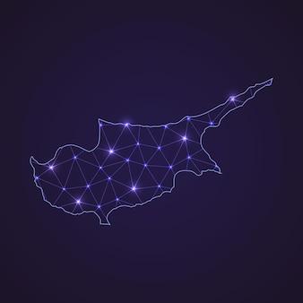 Цифровая сетевая карта кипра. абстрактные соединить линию и точку