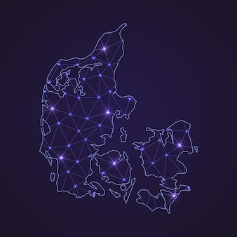 Цифровая сетевая карта дании. абстрактные соединяют линию и точку на темном фоне