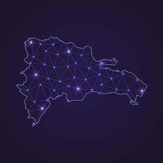 Цифровая сетевая карта доминиканской республики. абстрактные соединяют линию и точку на темном фоне
