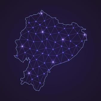 Цифровая сетевая карта эквадора. абстрактные соединяют линию и точку на темном фоне