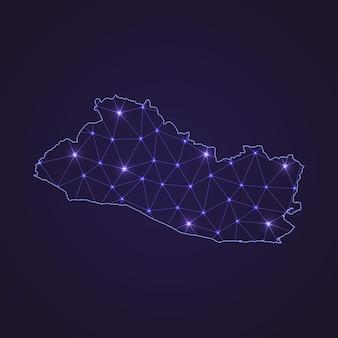 Цифровая сетевая карта сальвадора. абстрактные соединяют линию и точку на темном фоне