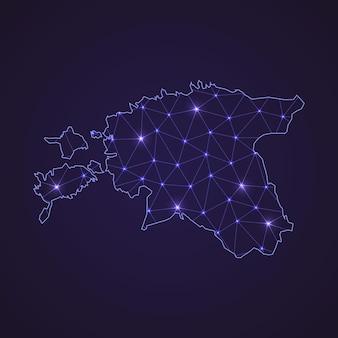 Цифровая сетевая карта эстонии. абстрактные соединяют линию и точку на темном фоне