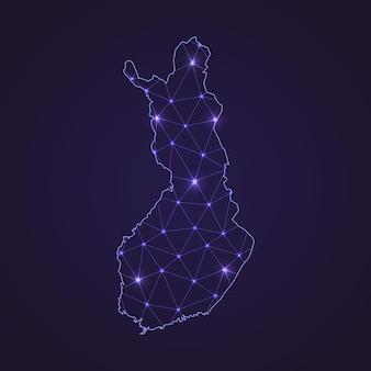 Цифровая сетевая карта финляндии. абстрактные соединяют линию и точку на темном фоне
