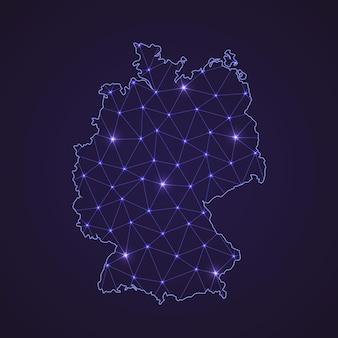 Цифровая сетевая карта германии. абстрактные соединяют линию и точку на темном фоне