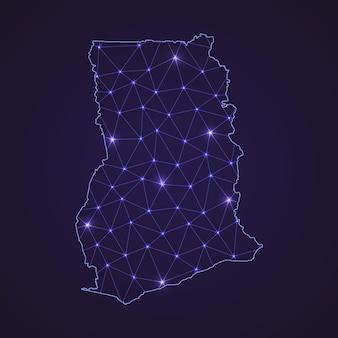 Цифровая сетевая карта ганы. абстрактные соединяют линию и точку на темном фоне