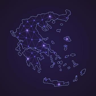Цифровая сетевая карта греции. абстрактные соединяют линию и точку на темном фоне