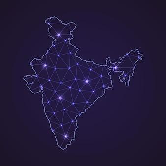 인도의 디지털 네트워크 지도입니다. 추상 연결 라인과 어두운 배경에 점