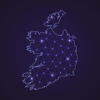 Цифровая сетевая карта ирландии. абстрактные соединяют линию и точку на темном фоне
