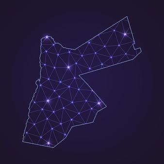 Цифровая сетевая карта иордании. абстрактные соединяют линию и точку на темном фоне