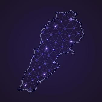 レバノンのデジタルネットワークマップ。暗い背景に抽象的な接続線とドット