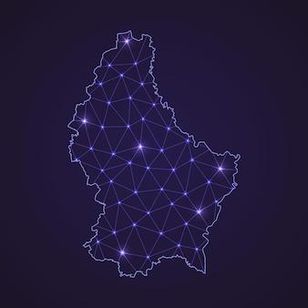 Цифровая сетевая карта люксембурга. абстрактные соединяют линию и точку на темном фоне
