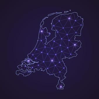 네덜란드의 디지털 네트워크 지도입니다. 추상 연결 라인과 어두운 배경에 점