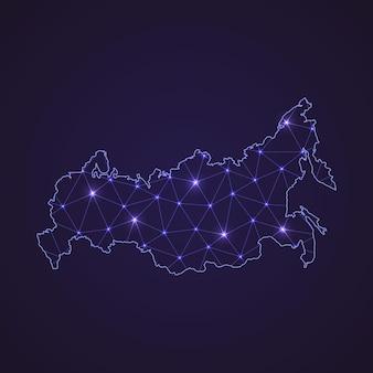 Цифровая сетевая карта россии. абстрактные соединяют линию и точку на темном фоне
