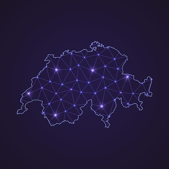 스위스의 디지털 네트워크 지도입니다. 추상 연결 라인과 어두운 배경에 점