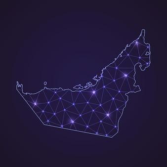 アラブ首長国連邦のデジタルネットワークマップ。暗い背景に抽象的な接続線とドット