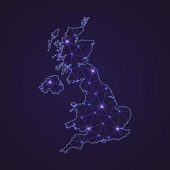 영국의 디지털 네트워크 지도입니다. 추상 연결 라인과 어두운 배경에 점