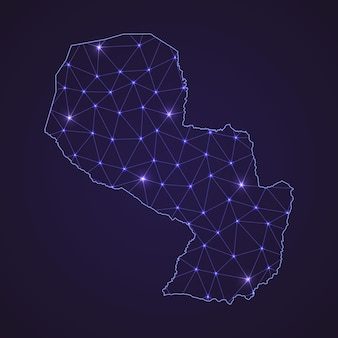 Digital network map of paraguay. abstract connect line and dot on dark background