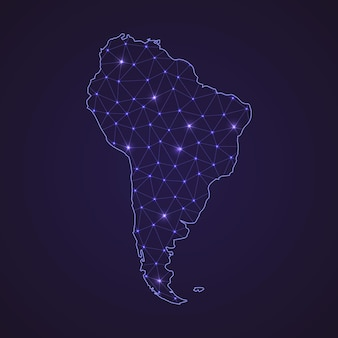 Digital network map of south america. abstract connect line and dot on dark background
