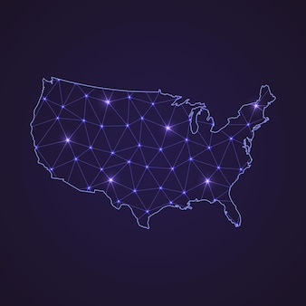 Digital network map of united states. abstract connect line and dot on dark background