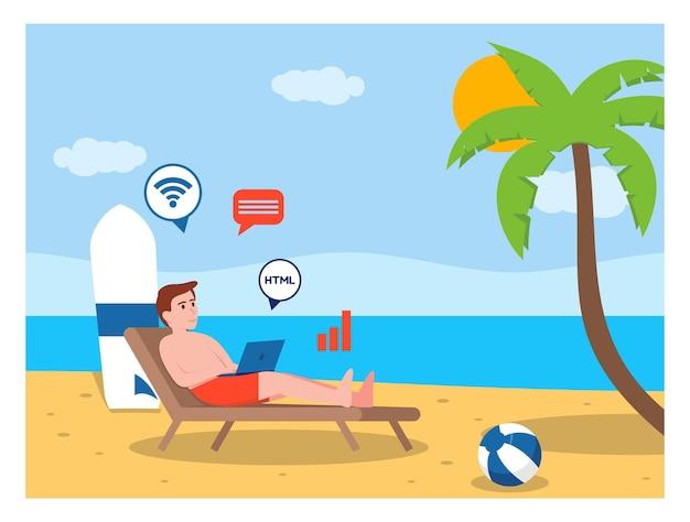Цифровой кочевник на пляже плоский дизайн