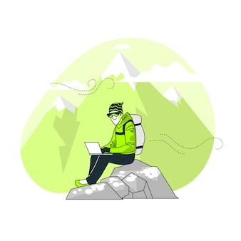 Illustrazione di concetto di nomade digitale