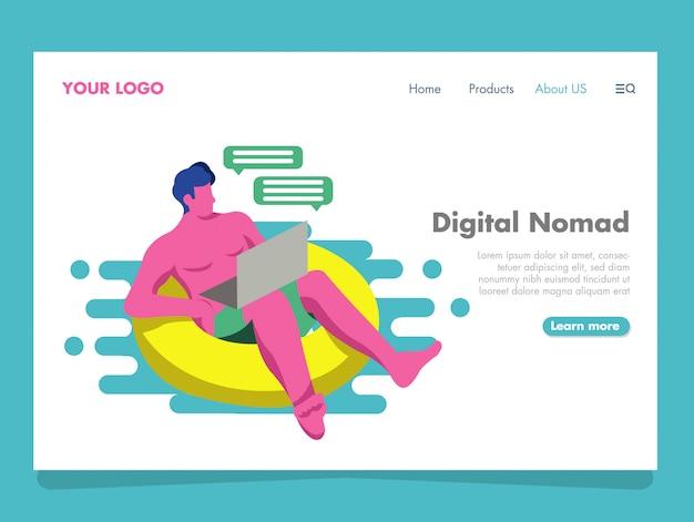Digital nomad illustration for landing page