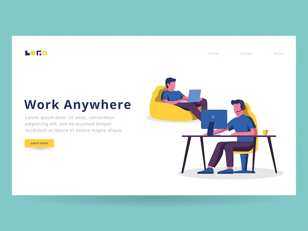 Digital nomad illustration for landing page