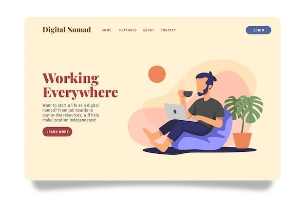 Digital nomad landing page website illustration