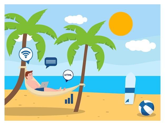 Цифровой кочевник на пляже гамаки плоский дизайн Premium векторы
