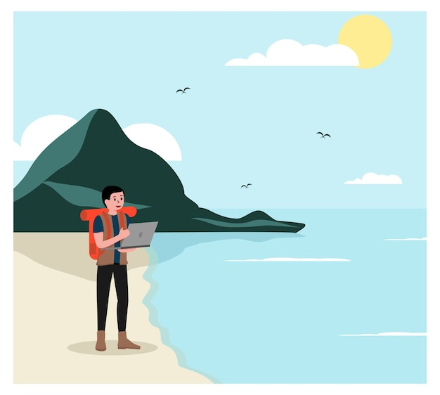 Digital nomad работает где угодно Premium векторы